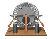 Wimshurst machine with two Leyden jars. 3D illustration of electrostatic generator. Physics. Science classrooms experiment. Demonstration of a scientific vector illustration