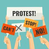 Demonstration signs in human hands with short words of protest. Demonstration signs on sticks in human hands with short words of protest and simple cross vector illustration