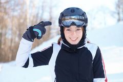Demonstration of skiing equipment. Royalty Free Stock Images