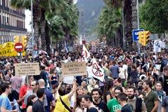 demonstration spain för 19j barcelona Arkivfoto