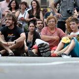 demonstration spain för 19j barcelona Royaltyfria Bilder