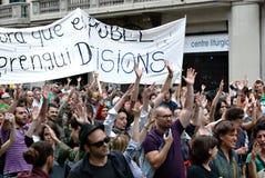 demonstration spain för 19j barcelona Arkivbilder