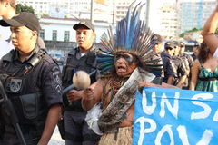 Demonstration staged against increases in bus fares in Rio de Janeiro Royalty Free Stock Photos