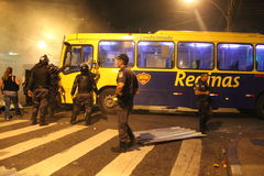 Demonstration staged against increases in bus fares in Rio de Janeiro Royalty Free Stock Photo