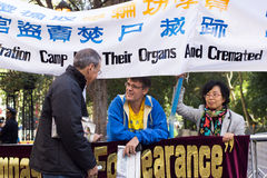 Demonstration for stop the persecution Falun Gong in China Royalty Free Stock Photos