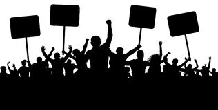 Free Demonstration, Strike, Manifestation, Protest, Revolution. Silhouette Background Vector. Sports, Mob, Fans. Crowd Stock Photography - 111755862