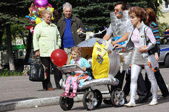 Demonstration strollers. Parade of prams. The demonstration on the day of the city. Russia. City of Severodvinsk Stock Photo