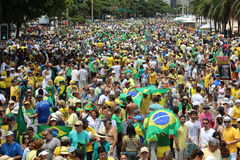 Demonstration in support impeachment of Dilma Rousseff in Copacabana stock photography