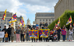 Demonstration of tibetans. Activists of Tibetan Community demonstrate for freedom of Tibet on Place de l'Albertine on September 15, 2013 in Brussels Royalty Free Stock Photos