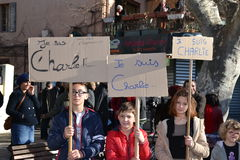 Demonstration to protest Charlie Hebdo murders. Marseille, France - January 10, 2015: People pay tribute to murdered Charlie Hebdo cartoonists stock images