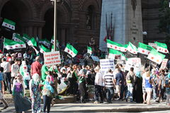 Demonstration to support Syrian freedom movement. On July 7, 2012, a demonstration to support the Syrian freedom movement in Toronto, Canada broke out in front Stock Image