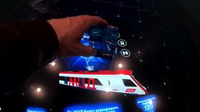 Demonstration of the touchscreen interactive table stock footage