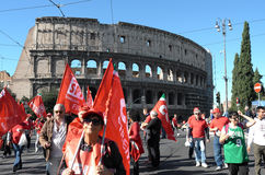 Demonstration of the trade unions in Rome Royalty Free Stock Photography