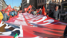 Demonstration of the trade unions in Rome Royalty Free Stock Photo