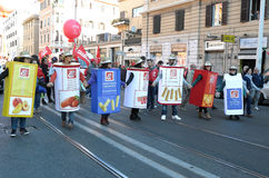 Demonstration of the trade unions in Rome Stock Photo