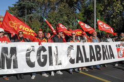 Demonstration of the trade unions in Rome Royalty Free Stock Image