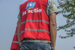 Backside Of A FNV Union Jacket With The Text FNV In Action At Amsterdam The Netherlands 2018. Demonstration Of Trigion Employees For A Better Collective stock images