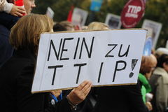 Demonstration in Vienna against free trade agreements TTIP. Europe wide decentralized actions against TTIP, CETA and TiSA on 11 October 2014 in Vienna Royalty Free Stock Images