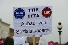 Demonstration in Vienna against free trade agreements TTIP. Europe wide decentralized actions against TTIP, CETA and TiSA on 11 October 2014 in Vienna Stock Photos