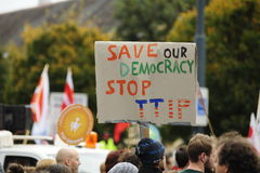 Demonstration in Vienna against free trade agreements TTIP. Europe wide decentralized actions against TTIP, CETA and TiSA on 11 October 2014 in Vienna Royalty Free Stock Photos