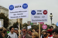 Demonstration in Vienna against free trade agreements TTIP. Europe wide decentralized actions against TTIP, CETA and TiSA on 11 October 2014 in Vienna Stock Photo