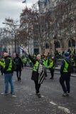 Demonstration von 'Gilets Jaunes in Paris, Frankreich lizenzfreies stockbild