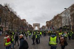 Demonstration von 'Gilets Jaunes in Paris, Frankreich lizenzfreie stockfotos