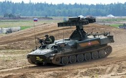 Demonstration of weapon and military equipment. Alabino, Moskow region, Russia - July 29, 2017: Demonstration of weapon and military equipment at the Stock Photography