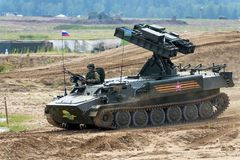 Demonstration of weapon and military equipment. Alabino, Moskow region, Russia - July 29, 2017: Demonstration of weapon and military equipment at the Stock Photo