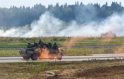 Demonstration of weapon and military equipment. Alabino, Moskow region, Russia - July 29, 2017: Demonstration of weapon and military equipment at the Stock Images