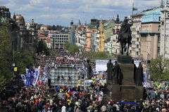 Demonstration in Wenceslas square Prague Royalty Free Stock Images