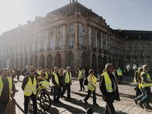 Free Demonstration Yellow Vests Against Increase Taxes On Gasoline And Diesel Introduced Government Of France Royalty Free Stock Images - 131888669