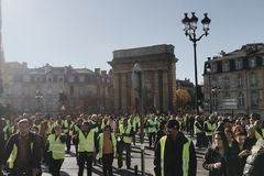 Free Demonstration Yellow Vests Against Increase Taxes On Gasoline And Diesel Introduced Government Of France Stock Images - 131888724