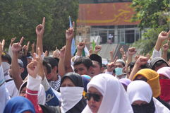 Demonstrations anti Ahok in Semarang Stock Photo