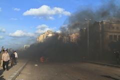 Demonstrations and burning cars in Alexandria Stock Images