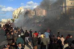 Demonstrations and burning cars in Alexandria Royalty Free Stock Photo