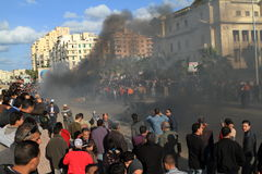 Demonstrations and burning cars in Alexandria Stock Photo