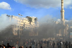 Demonstrations and burning cars in Alexandria Stock Image