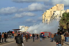 Demonstrations and burning cars in Alexandria Royalty Free Stock Photography