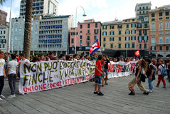 demonstrations in Genoa, Italy against the governm Royalty Free Stock Photos