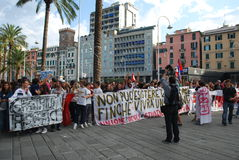 demonstrations in Genoa, Italy against the governm Stock Photo