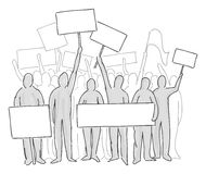 Demonstrations. A group of strikers with blank banners Stock Image
