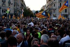 Demonstrations-Unabhängigkeit Katalonien 20/09/2017 Stockbild