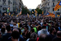 Demonstrations-Unabhängigkeit Katalonien 20/09/2017 Lizenzfreies Stockbild