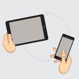 Demonstrationsanzeige eines Handys Stockbild