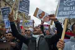 demonstrationsegypt france paris protestera Arkivbilder