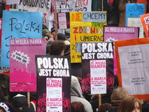 demonstrationsfeministpolermedel Arkivfoto
