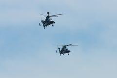 Demonstrationsflug von Hubschrauberangriff Eurocopter-Tiger UHT Stockfotografie