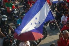 Demonstrationszug agaist Juan Orlando Zahl 24 Hernandez am 12. Januar 2018 Stockfotografie