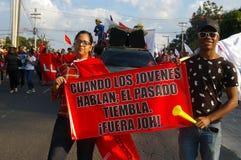 Demonstrationszug agaist Juan Orlando Zahl 15 Hernandez am 12. Januar 2018 Lizenzfreies Stockbild